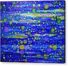 Green Bubbles In A Purple Sea Acrylic Print