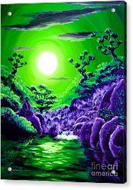 Green Buddha Meditation Acrylic Print