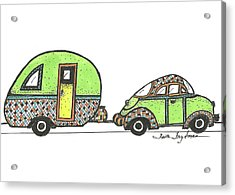 Green Car And Trailer Acrylic Print