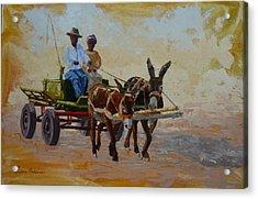 Green Cart Acrylic Print by Yvonne Ankerman