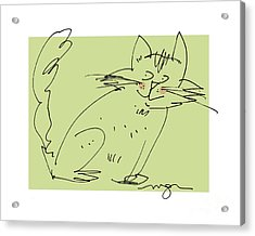 Green Cat Acrylic Print