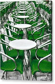 Green Chairs In Venice Acrylic Print