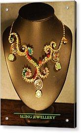 Green Chalcedony And Swarovski Crystal Wire Wrapped Necklace Acrylic Print by Janine Antulov