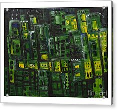 Green Cities Acrylic Print by Maria Curcic