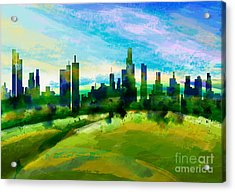 Green City Acrylic Print by Bedros Awak