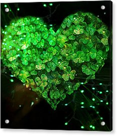 Green Clover Heart Acrylic Print