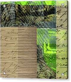 Green Collage No. 6 Acrylic Print by Nancy Merkle