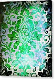 Green Damask Pattern Acrylic Print