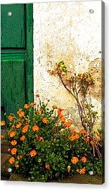 Green Door - Orange Flowers Acrylic Print by Georgia Nick
