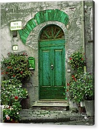Green Door Acrylic Print by Karen Lewis