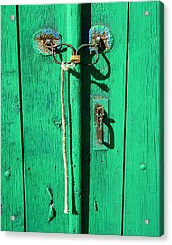 Green Door With Spectacles Acrylic Print by Donald Buchanan