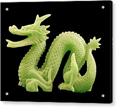 Green Dragon On Black Acrylic Print by Bill Barber