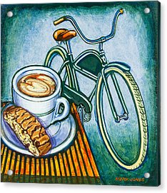 Green Electra Delivery Bicycle Coffee And Biscotti Acrylic Print
