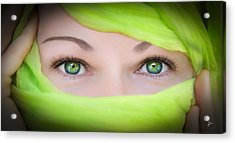 Green-eyed Girl Acrylic Print by TK Goforth
