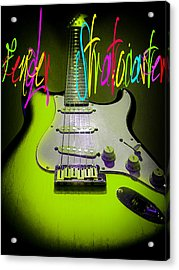 Acrylic Print featuring the photograph Green Fender Stratocaster  by Guitar Wacky