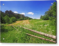 Green Fields Acrylic Print by Jaroslaw Grudzinski
