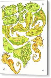 Green Fish Acrylic Print by Linda Kay Thomas