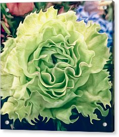 Acrylic Print featuring the photograph Green Flower by Linda Constant