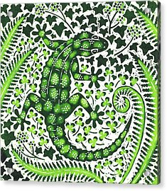 Green Gecko Acrylic Print by Nat Morley