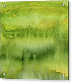 Green Gold Forest Abstract Watercolor Acrylic Print