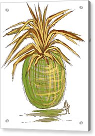 Green Gold Pineapple Painting Illustration Aroon Melane 2015 Collection By Madart Acrylic Print