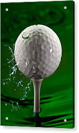 Green Golf Ball Splash Acrylic Print by Steve Gadomski
