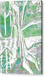 Green-grey Misty Morning River Tree Acrylic Print
