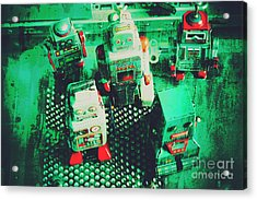 Green Grunge Comic Robots Acrylic Print by Jorgo Photography - Wall Art Gallery