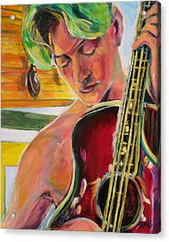 Green Hair Red Bass Acrylic Print