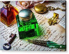 Green Ink Well Acrylic Print by Garry Gay