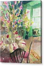 Green Interior With Cherry Blossoms Acrylic Print