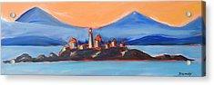 Acrylic Print featuring the painting Green Island Lighthouse by Yulia Kazansky