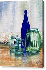 Green Jars Still Life Acrylic Print by Marilyn Smith