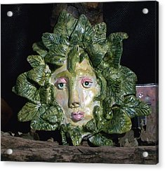 Green Lady Acrylic Print by Carolyn Cable