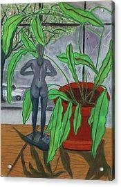 Green Lady Acrylic Print by Eliezer Sobel