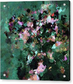 Acrylic Print featuring the painting Green Landscape Painting In Minimalist And Abstract Style by Ayse Deniz