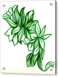 Green Leaves Acrylic Print by Judith Herbert