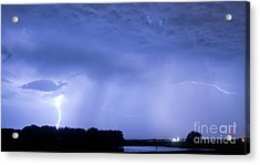 Green Lightning Bolt Ball And Blue Lightning Sky Acrylic Print by James BO  Insogna
