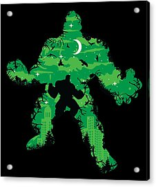 Acrylic Print featuring the digital art Green Monster by Christopher Meade