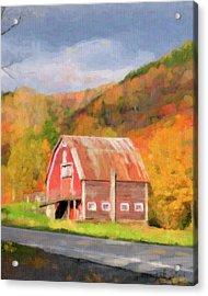 Green Mountains Barn Acrylic Print by Betty LaRue