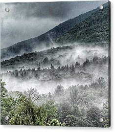 Acrylic Print featuring the photograph Green Mountains With Fog by Penni D'Aulerio