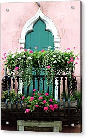 Acrylic Print featuring the photograph Green Ornate Door With Geraniums by Donna Corless
