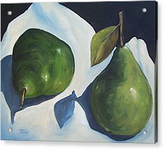 Green Pears On Linen - 2007 Acrylic Print by Torrie Smiley