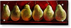 Green Pears On Red Acrylic Print by Toni Grote