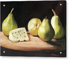 Acrylic Print featuring the pastel Green Pears With Cheese by Cindy Plutnicki