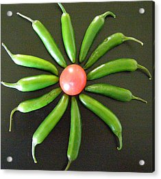 Green Pepper Design Acrylic Print by Jeanette Oberholtzer