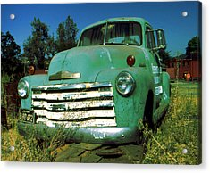 Green Pickup 1959 - American Car Photo Acrylic Print by Art America Gallery Peter Potter