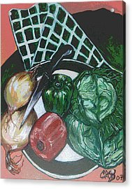 Green Plate Of Cabbage Soup Acrylic Print by Clara Spencer
