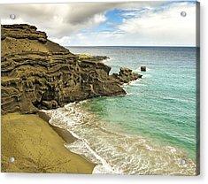 Green Sand Beach On Hawaii Acrylic Print by Brendan Reals