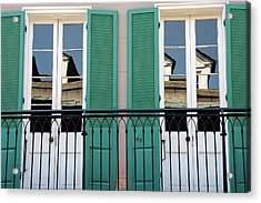 Acrylic Print featuring the photograph Green Shutters Reflections by KG Thienemann